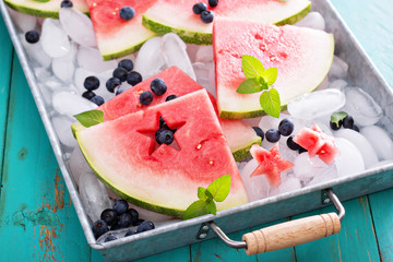 Fresh watermelon with blueberries