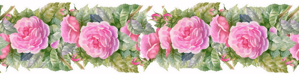 Seamless patterns with Beautiful flowers, watercolor illustratio