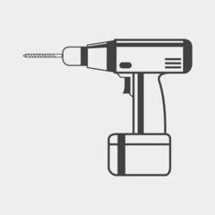 Electric hand drill monochrome icon