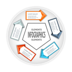 Infographics circle origami style.