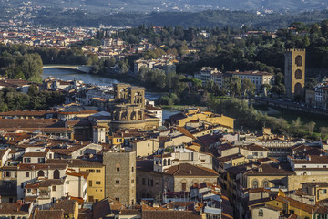 Wall Mural - View of the city and the Arno River