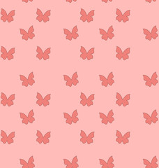 Seamless Texture with Butterflies, Cute Vintage Background