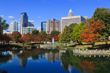 Charlotte North Carolina at Marshall Park in the Fall