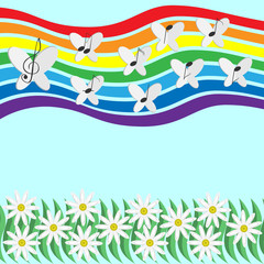 Musical notes and butterflies circling in the sky on a rainbow .
