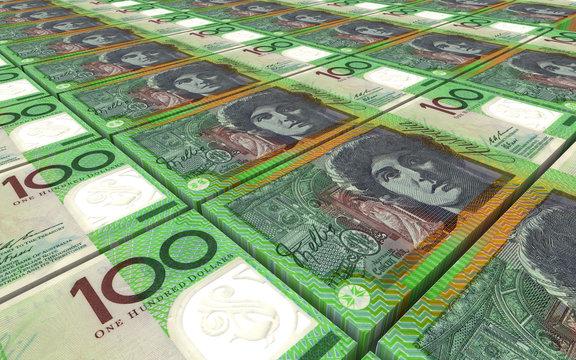 Australian dollar bills stacks background.