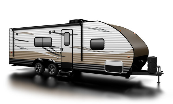 Travel Trailer RV on white, extremely high resolution and detailed, with custom graphics.