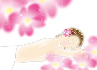 エステ_寝ている女性_ピンク