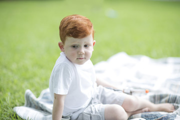 Red-haired boy sitting on picnic blanket