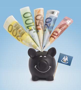 Various european banknotes in a happy piggybank of Louisiana.(se