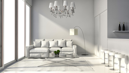 Interior of the modern design loft with lamp, sofa and bar. 3D i