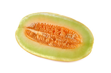 half cut Thai Muskmelon on white background