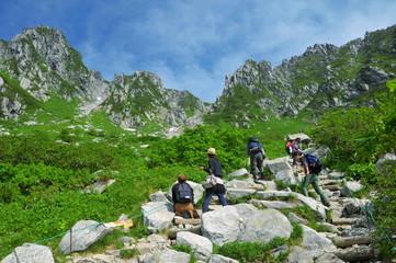 長野県 夏山の木曽駒ヶ岳 登山