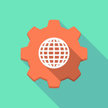 Long shadow gear icon with a  world globe