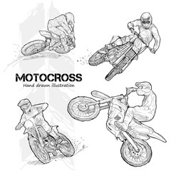 Hand drawn illustrations of motocross