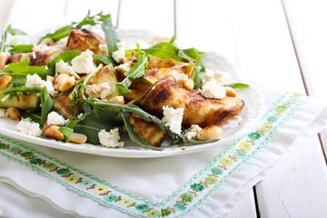 Zucchini, rocket, feta and nut salad