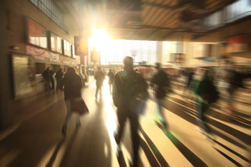 Blurred people on subway platform at hofbahnhof germany