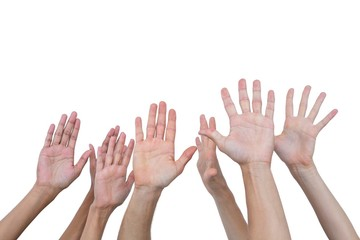 People raising their hands in the air