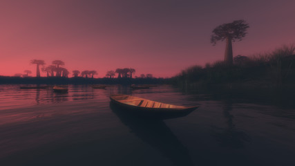 Small indigenous boat on a lake at sunset