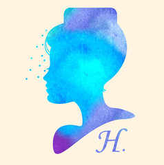 Silhouette head with watercolor hair. Vector illustration of woman