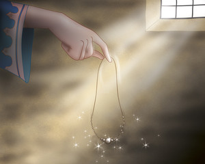This is the hand of the princess holding a magic jewel. Digital illustration for Grimm's fairy tale Rumpelstiltskin.
