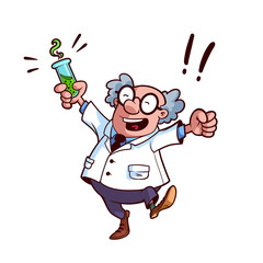 Happy professor in a white robe with a chemical flask