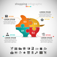 Shopping infographic with piggy bank made of puzzle.