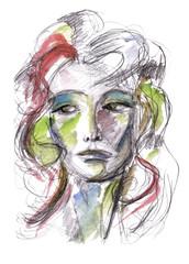 Portrait of a woman in watercolor
