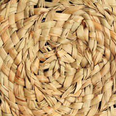 Detail of straw hat, top view