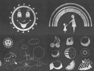Set of chalkboard drawings