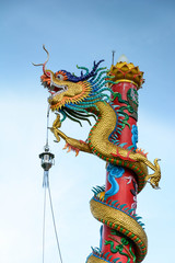 Dragon pole climbing, sky background Represent greatness.
