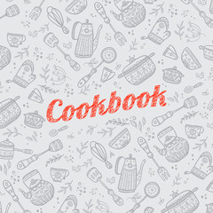 cookbook cover with kitchen items