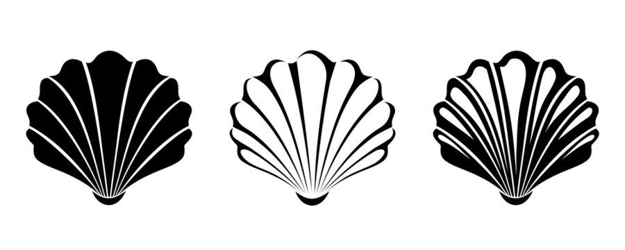 Set of sea shells. Vector black silhouettes.