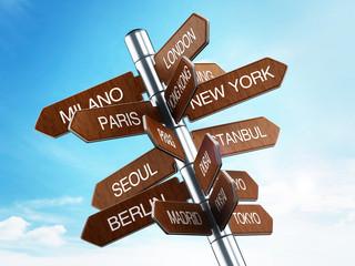 Travel destinations signpost
