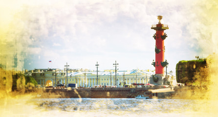 Rostral Columns on the Spit of Vasilievsky Island outside The Old Saint Petersburg Stock Exchange, St Petersburg