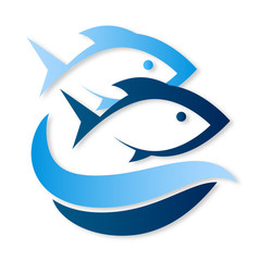 Two fish on waves symbol vector