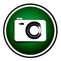 Photo camera - vector green round icon