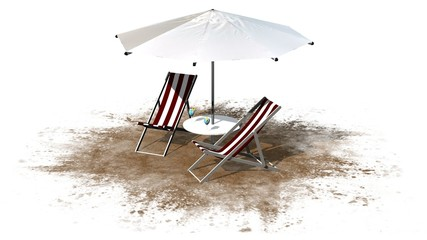Deck chairs and umbrella isolated on white background
