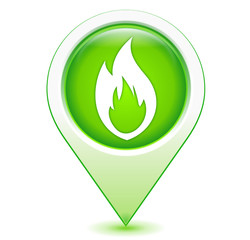 flamme gaz sur marqueur géolocalisation vert