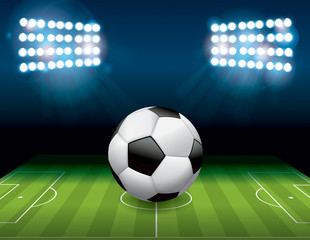 Soccer Football Ball on Field Illustration