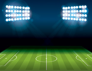 Football American Soccer Field Illuminated Illustration