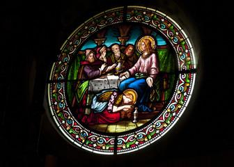 Foto auf Leinwand Buntglasfenster Vitrail église Sainte Marie Madeleine Rennes le château Aude