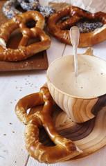 Alsatian Bretzels and cappuccino