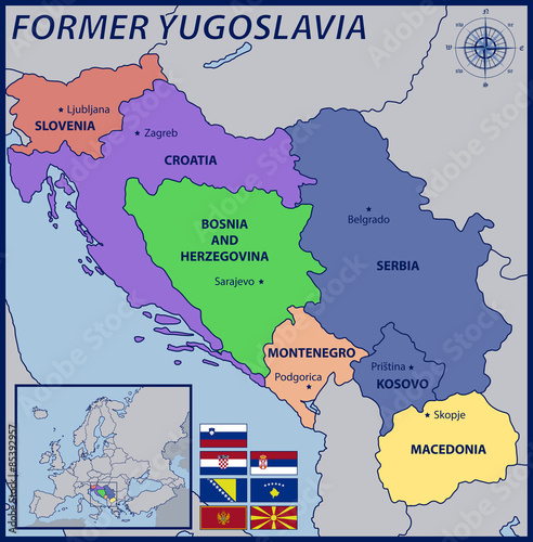 Map location and flags of the former yugoslavia stock image and map location and flags of the former yugoslavia gumiabroncs Gallery