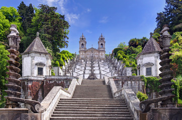 Stairway to the church of Bom Jesus do Monte in Braga (Portugal) Fototapete