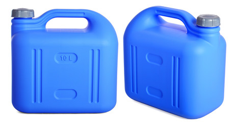 two views of blue plastic 10-liter gallon on a white background