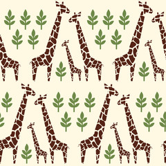 Giraffes family seamless pattern. Safari animal background. Retro style colors illustration savannah. Jungle animals with tropical plants print. Happy family concept - father, mother, baby.