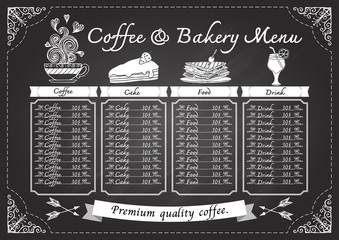 Hand drawn coffee menu on chalkboard design template.