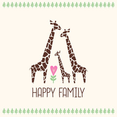 Happy family card. Cute giraffes family illustration. Jungle animals with tropical plants print. Happy family concept - father, mother, baby. Retro style colors.