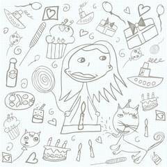 Happy Birthday scribbles doodles - children's drawings