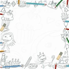 Happy Birthday childish sketches frame isolated on white background